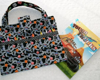 Child Crayon Bag - Coloring Book Activity Tote - Route 66 Fabric - Kids Arts and Crafts Organizer - Crayon Caddy - Restaurant Activity Bag