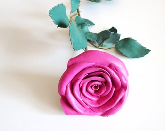Leather Flower- Long Stem Pink Rose, Wedding, 3rd Anniversary, Gift Flower- Valentines Day
