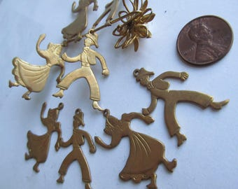 Vintage Folk  Dancer Brass Charm