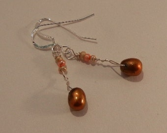 Chocolate Freshwater Pearl Earrings SS Shepherd Hooks