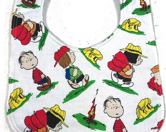 Charlie Brown Baby Bib - Peanuts bib  - Infant Bib - Dribble Bib - Baby Shower Gift - Charlie Brown - camping