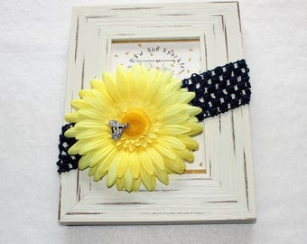 Girls Headband, Navy Yellow Headband, Photo Prop, Sunflower Headband, Babys Navy Yellow Headband, Bee Headband, Girls Yellow Navy Hair Clip
