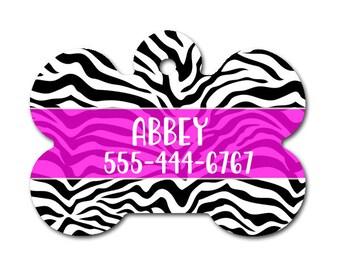 Zebra Personalized Dog Tag for Dog- Single Sided-Monogrammed Dog Tag-Pet id Tag-Dog Name Tag-Custom Dog Tag