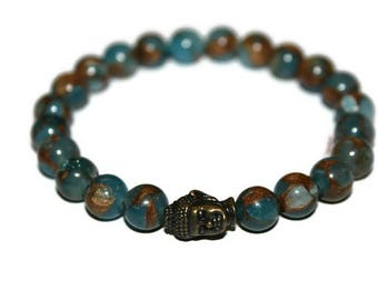 Buddha Bracelet for Men Buddhist Bracelet Bronze Buddha Jewelry for Men  Blue Stone Bracelet Blue Nepal Bracelet Healing Crystal Bracelet