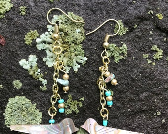 Gold Abalone Bird Earrings