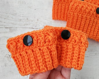 Toddler boot cuffs Boot toppers cuffs baby girls Crochet orange boot socks