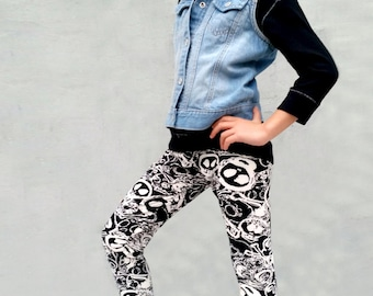 Girls/Kids Doodle Skull Printed Leggings for Riot Grrrls, Punk and Goth Kids