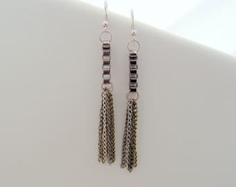 Box Chain Fringe Tassel Drop Earrings