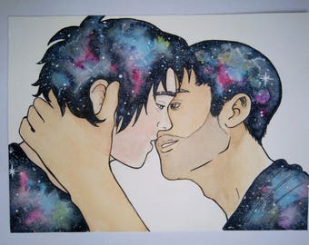 Watercolor: Couple kissing on a background of galaxies