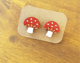 Toadstool earrings, laser cut wood