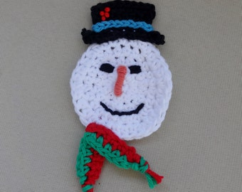 Holiday Snowman Magnet And Coaster Crochet Pattern