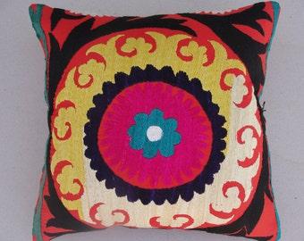 "Modern Home Decor, Suzani Pillow Cover 16"" X 16"",Suzani Pillow,Decorative Pillow,Vintage Suzani Pillow"
