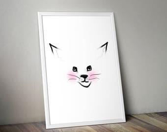 Blushing Snow Fox Printable