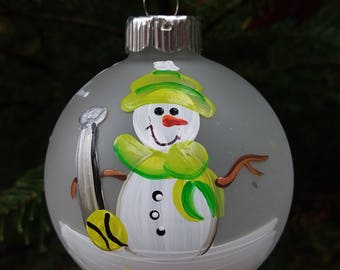 Softball Personalized Snowman Christmas Ornament Handpainted Gift