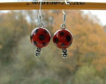 GLASS beads earring FILE 12mm