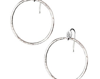 Forest Lake Hoop Earrings, Leaf and Textured hoop earrings, 14K White Gold Hoops