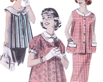 Butterick 8016  Women's 50s Maternity Smock and Skirt Sewing Pattern Bust 36