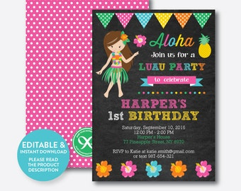 Aloha birthday invitation luau birthday invite luau party instant download editable aloha luau birthday invitation luau invitation girl luau party invitation hawaiian party chalkboard ckb34 stopboris