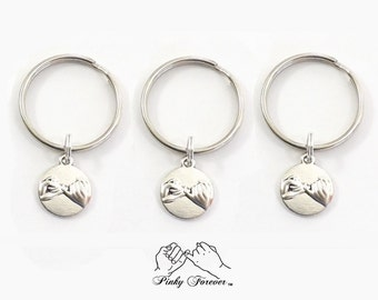 Set of 3 Best Friend Keychains, Matching Set, Pinky Promise, 3 Sisters, Mother 2 Daughters, Pinky Promise, Best Friend Gift, Pinky Swear