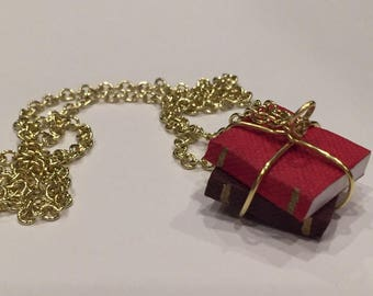 Book Lover's Red and Brown Necklace