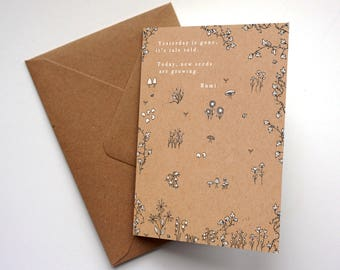 Rumi Quote - Greeting Card - 'Today new seeds are growing'