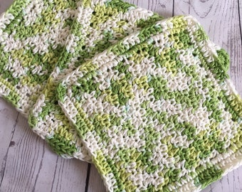 Green Kitchen Wash Cloths Cotton Dish Cloths Baby Cloths Multi Color Greens Key Lime Pie Wash Cloth Set of 3 Made to Order