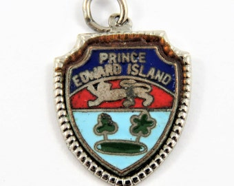 Enameled Prince Edward Island Travel Shield Sterling Silver Charm of Pendant.