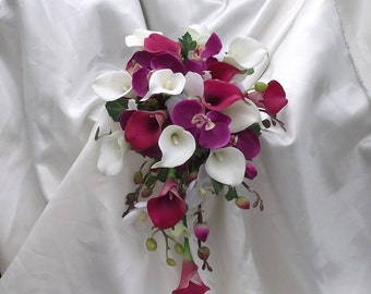 Orchid wedding bouquet, orchids and calla lilies cascade bouquet, plum bride bouquet, cascade calla lily bouquet