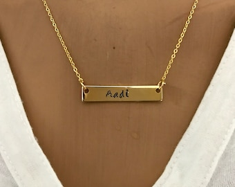 Personalized Gold Bar Necklace,Engraved necklace,Initial Bar,Name plate bar Horizontal necklace Bridesmaids gift