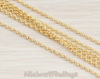 CHN006-G // Glossy Gold Plated 2.5 mm Rolo Chain, 1 Meter.