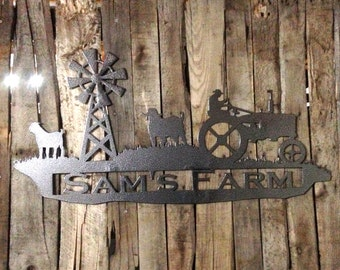 Farm Sign with Tractor and sheep and Custom Text Field N11