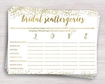 Bridal Scattergories Game, Funny Bridal Shower games, Gold Bridal shower ideas, Bachelorette, Wedding Shower Activity, Engagement party game