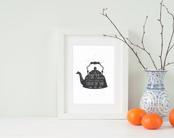 Tea poster, teapot, tea, illustration and quote the round, black and white, infusion, decoration