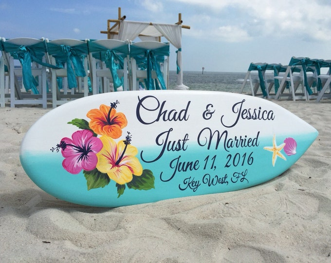 Beach Wedding Decor, Hibiscus Just Married Sign, Hawaiian Wedding, Surfboard Decor