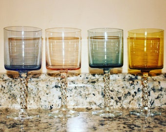 Twisted Stem Multi-Colored Wine Glasses (Large)