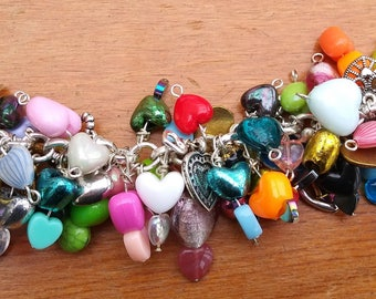 Chunky charm bracelet, Hearts,