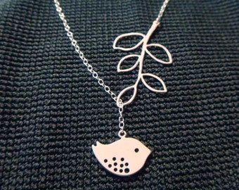 Bird Lariat on a branch Necklace  Necklace - Lariat Jewelry