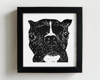In your face Boston - linocut print, graphic dog print, dog lover wall art