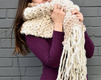 Knitted Blanket Scarf / Oversized Wool Scarf / Chunky Knit Scarf / Hand-Knit Wool Scarf / White Wool Scarf / White Winter Scarf / HYGGE