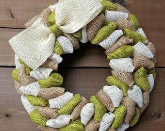 Spring burlap wreath, green wreath, summer wreath, everyday wreath front door wreath, year round wreath, shabby chic wreath