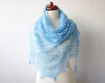 blue lace shawl, bridal cover up, hand knit mohair wrap