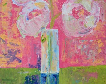 Pretty Pink Acrylic Flower Painting. Cottage Chic Decor. Floral Art Painting. Living Room Wall Art. No 269