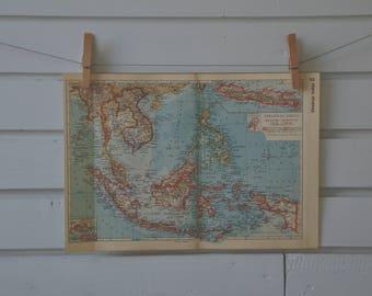 1938 Vintage Southeast Asia Map
