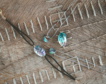 Abalone and Garnet Necklace