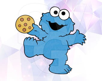 SVG Cookie Monster Sesame Street Vector LAYERED Cut Files Cricut Designs Silhouette Cameo Party Decorations Vinyl Tshirt Decal crafting