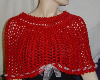 0094 Holiday Caplet Pattern,Womens Crochet Classic Shells Pattern,Christmas Collar Pattern,Crochet Caplet Pattern S/M