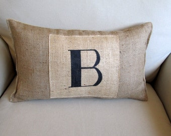 monogram burlap hand painted pillow