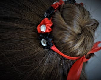 Black and Red Bun Wrap, Flower Bun Wreath, Ballet Bunflower, Bun Garland for Dance, Satin Bun Wrap