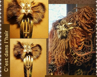 Hair bow tie rhinestone fur clip