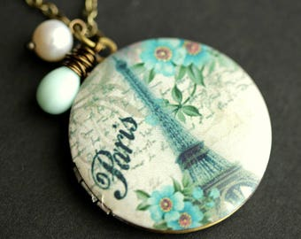 France Necklace. Paris Pendant. Eiffel Tower Locket. French Necklace. Paris Jewelry. French Jewelry. French Locket. Handmade Necklace.